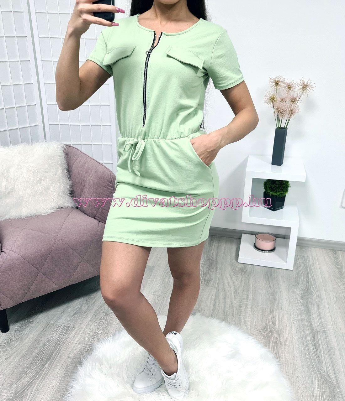 Cipzáros, zsebes ruha (zöld)