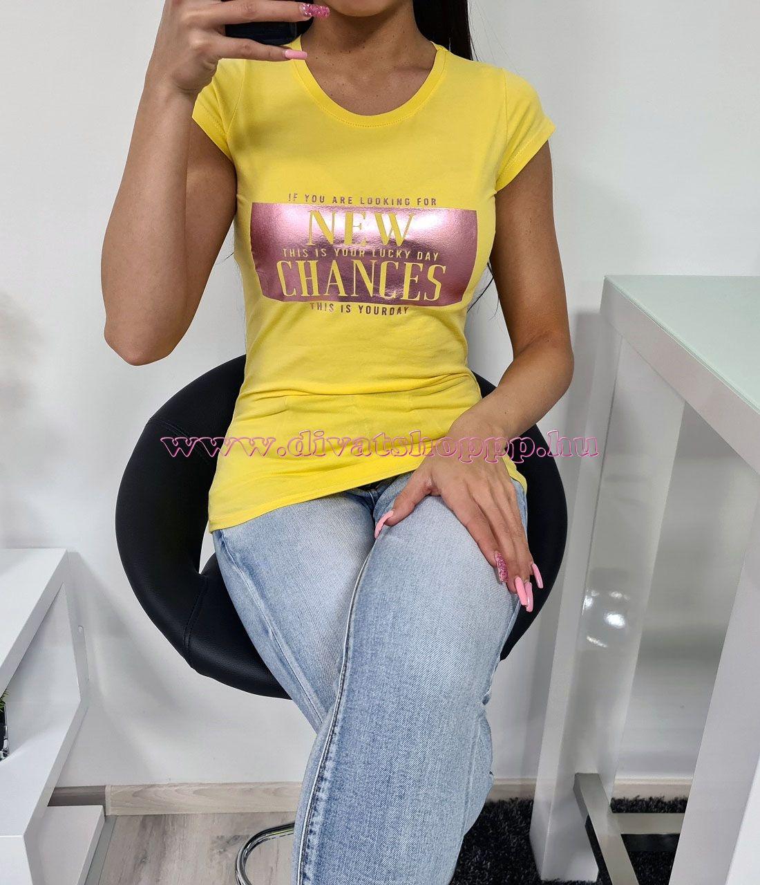 New Chances feliratos póló (sárga)