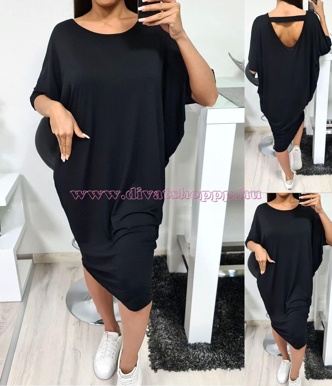 Hátán pántos, extra bő ruha (fekete)