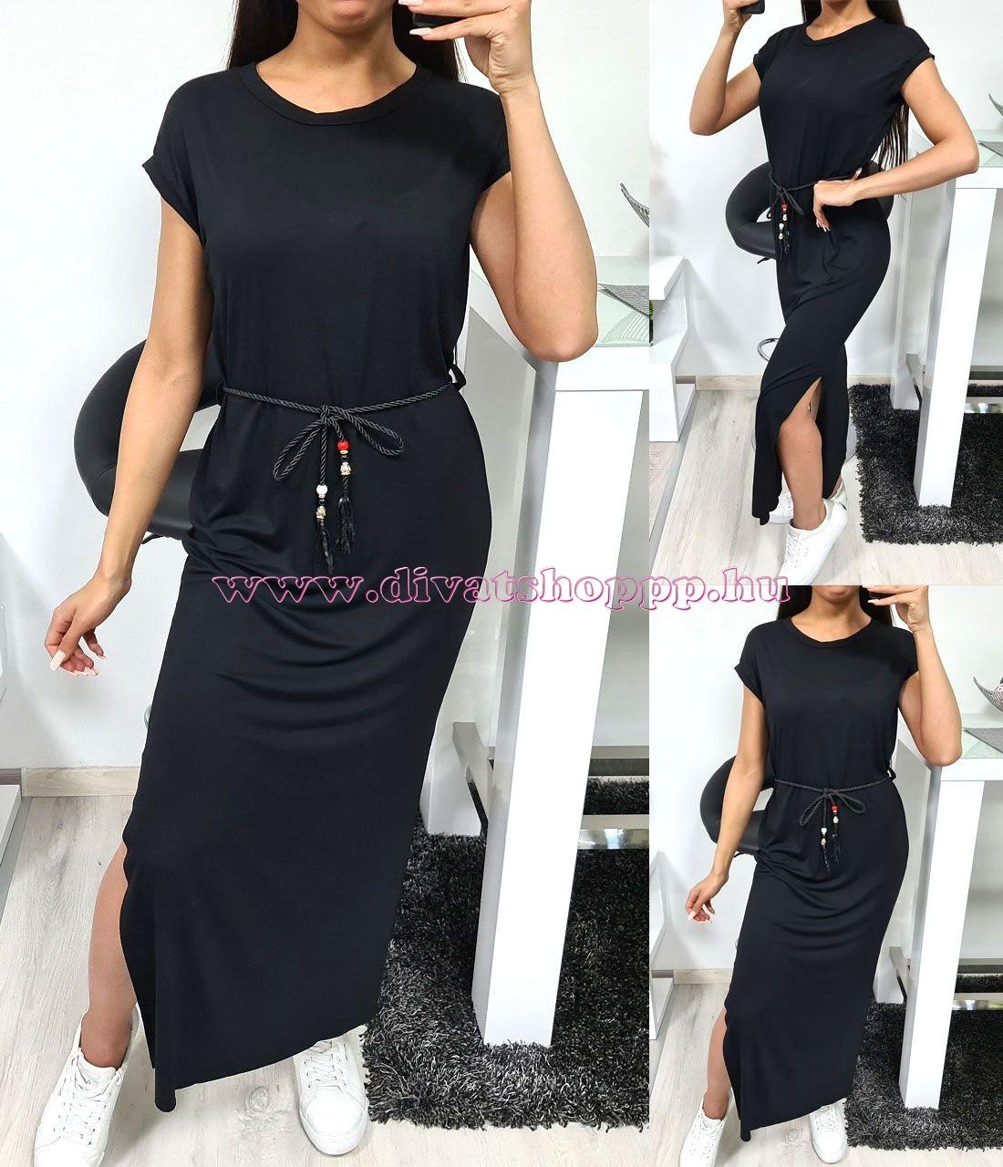 Kétoldalt felvágott, egyszínű ruha (fekete)