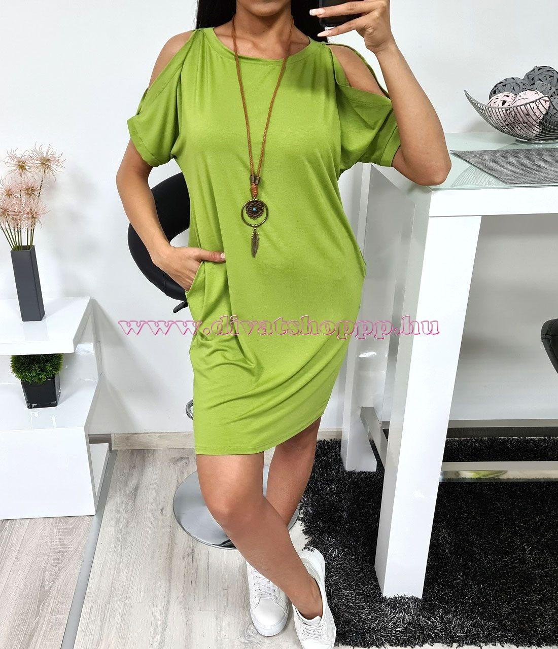 Nyitott vállú, zsebes ruha nyaklánccal (zöld I.)
