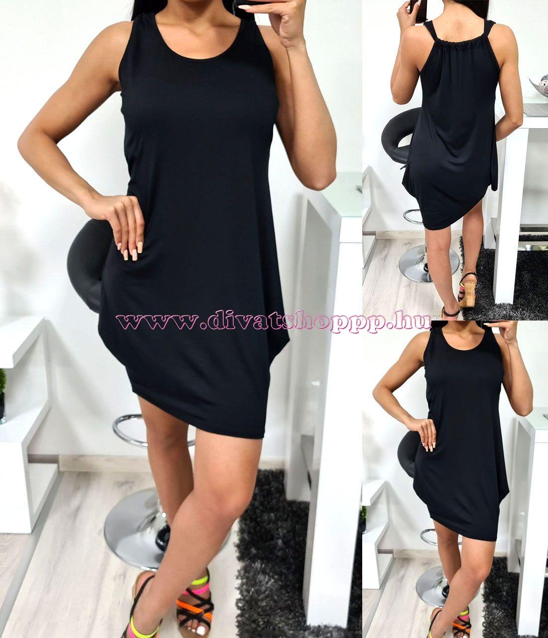 Egyszínű miniruha (fekete)