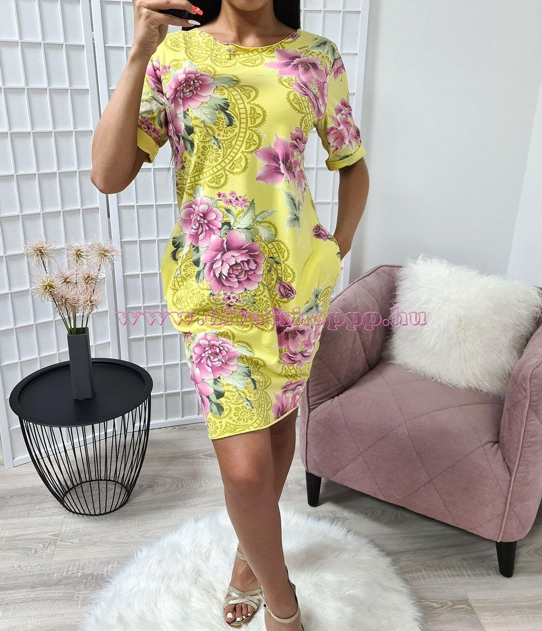 Zsebes-mintás ruha (sárga)