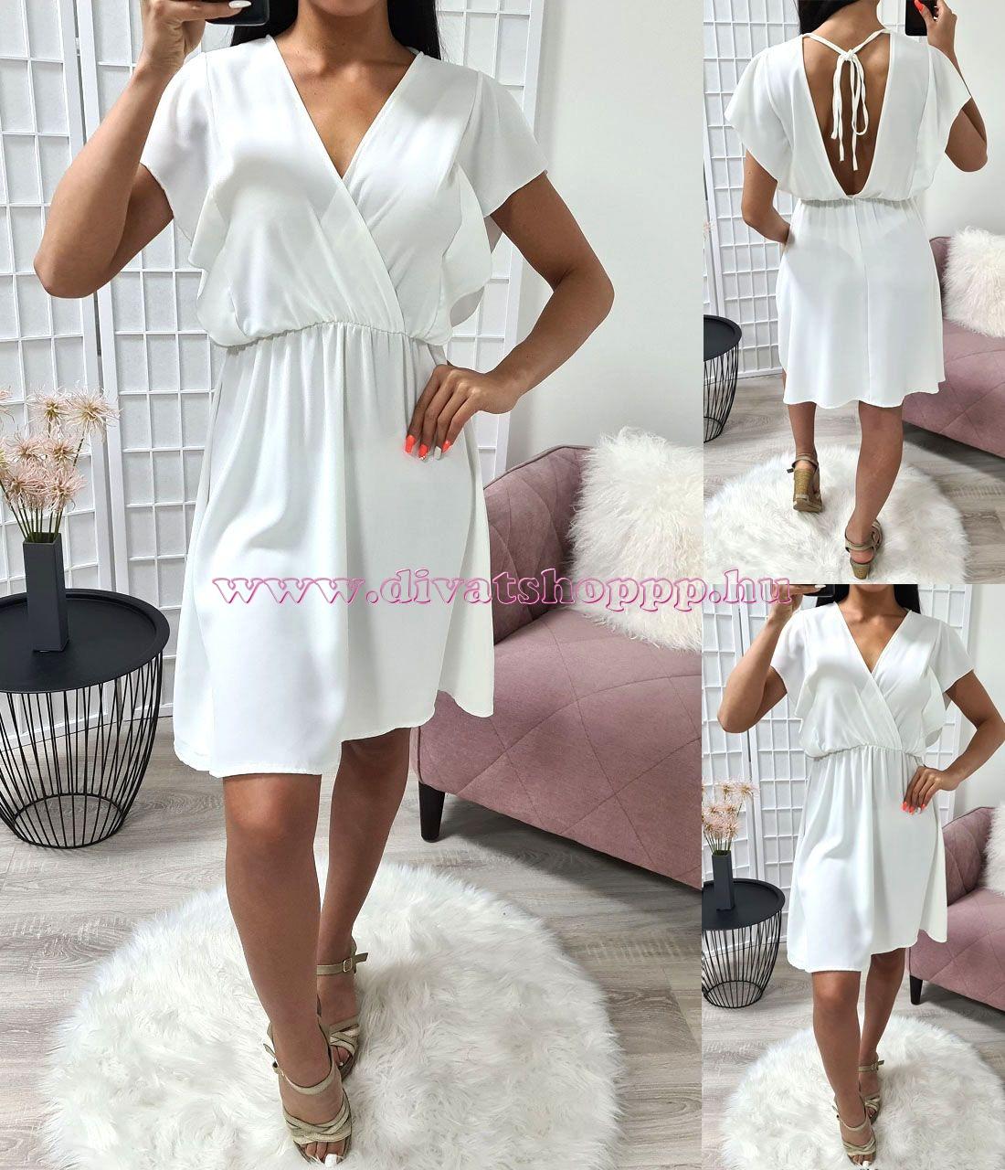 Gumis derekú, átlapolt ruha (fehér)