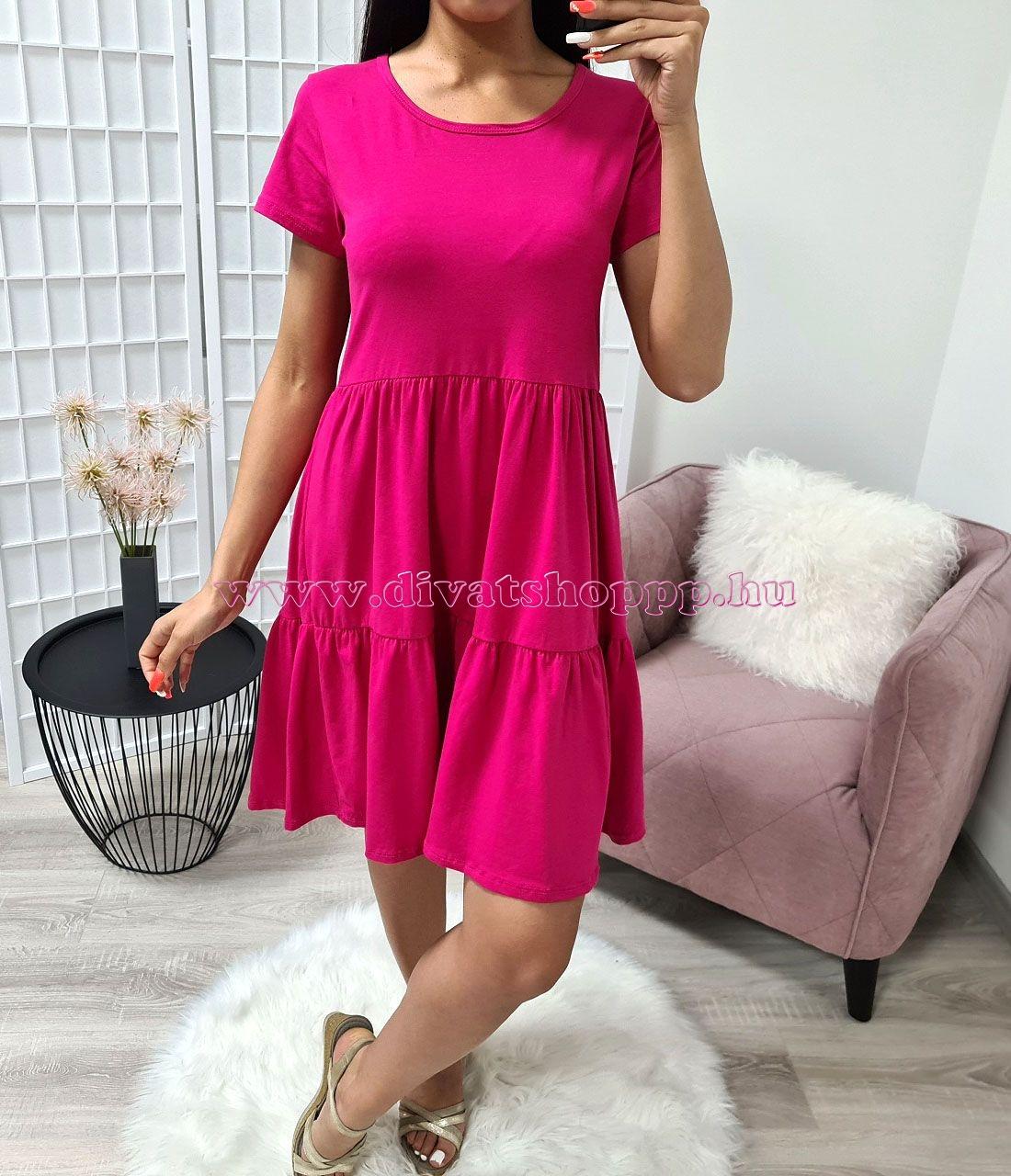 Egyszínű, rövid ujjú ruha (pink)