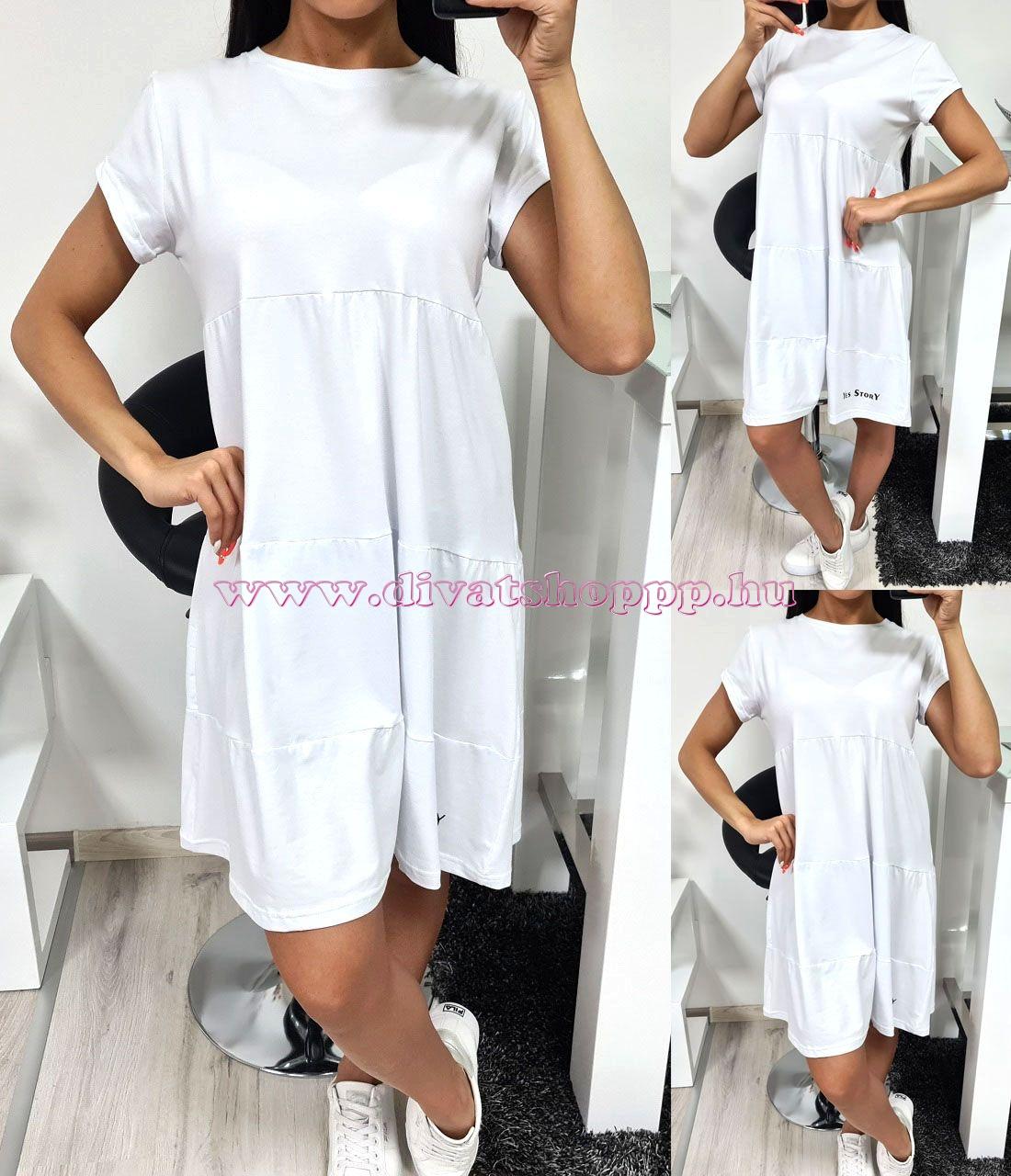 Rövidujjú ruha (fehér)
