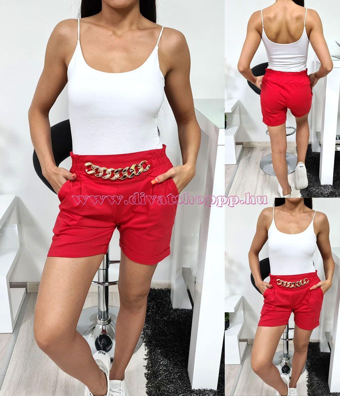 Lánc-díszes rövid nadrág (piros)