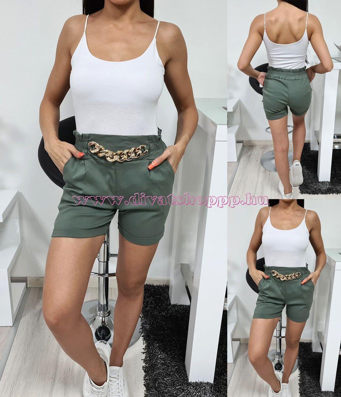 Lánc-díszes rövid nadrág (kheki)