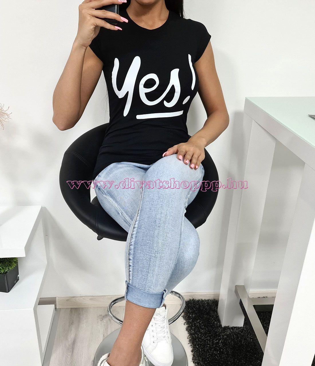 YES feliratos póló (fekete)