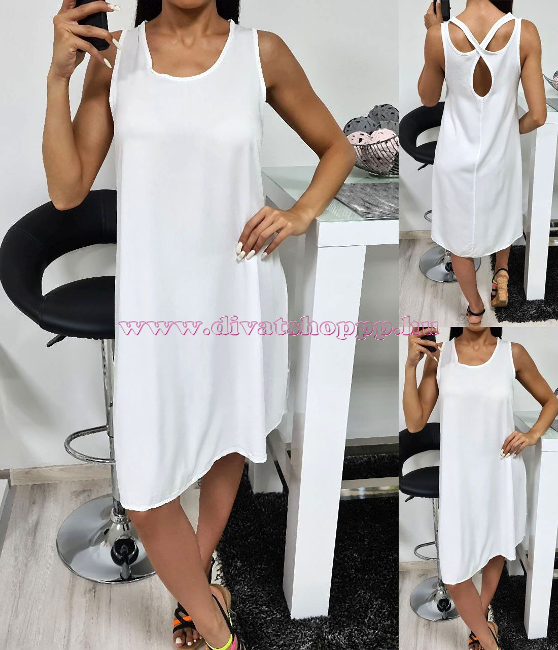 Hátán keresztpántos, egyszínű ruha (fehér)