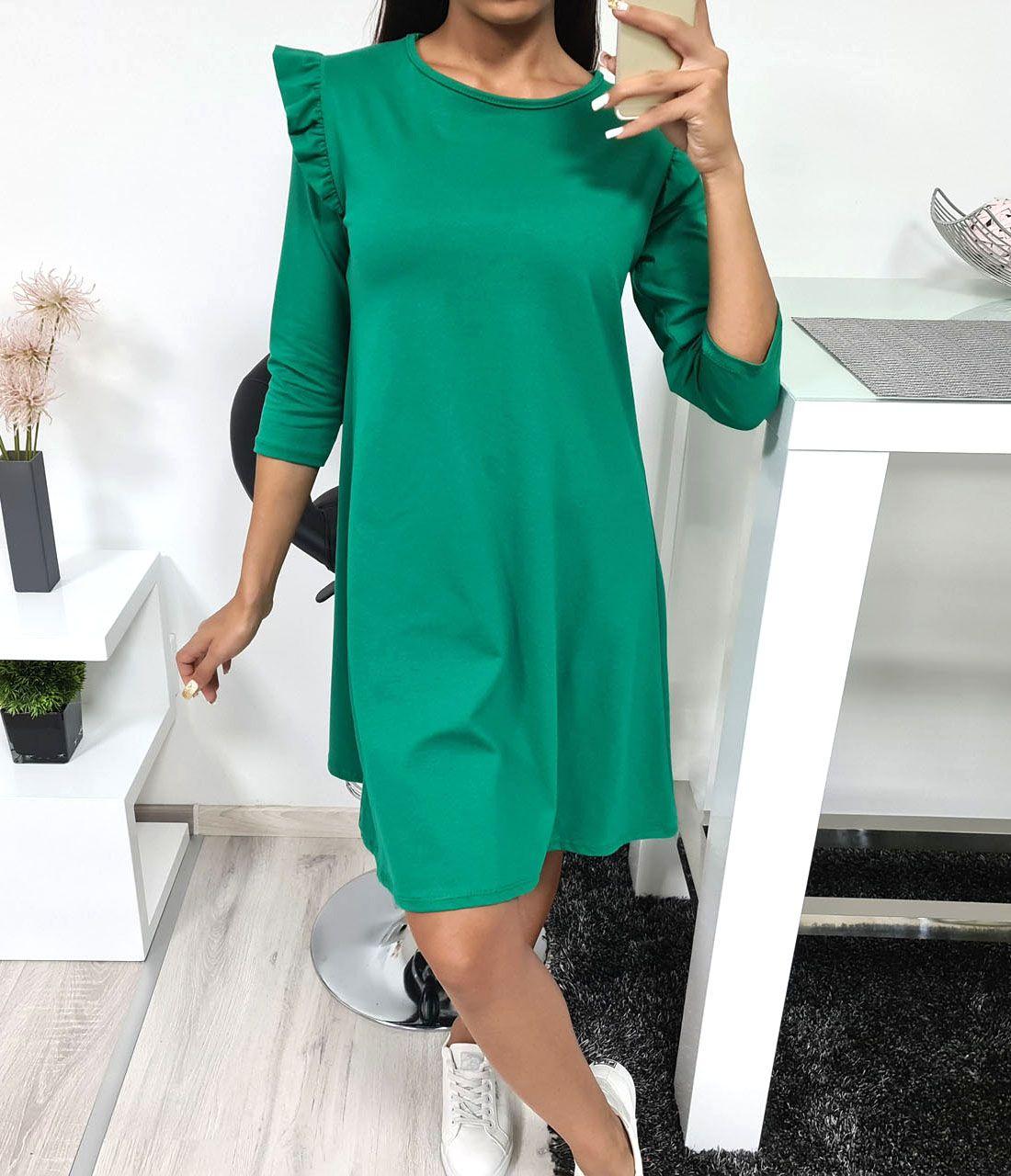 Fodros vállú, A vonalú ruha (zöld)