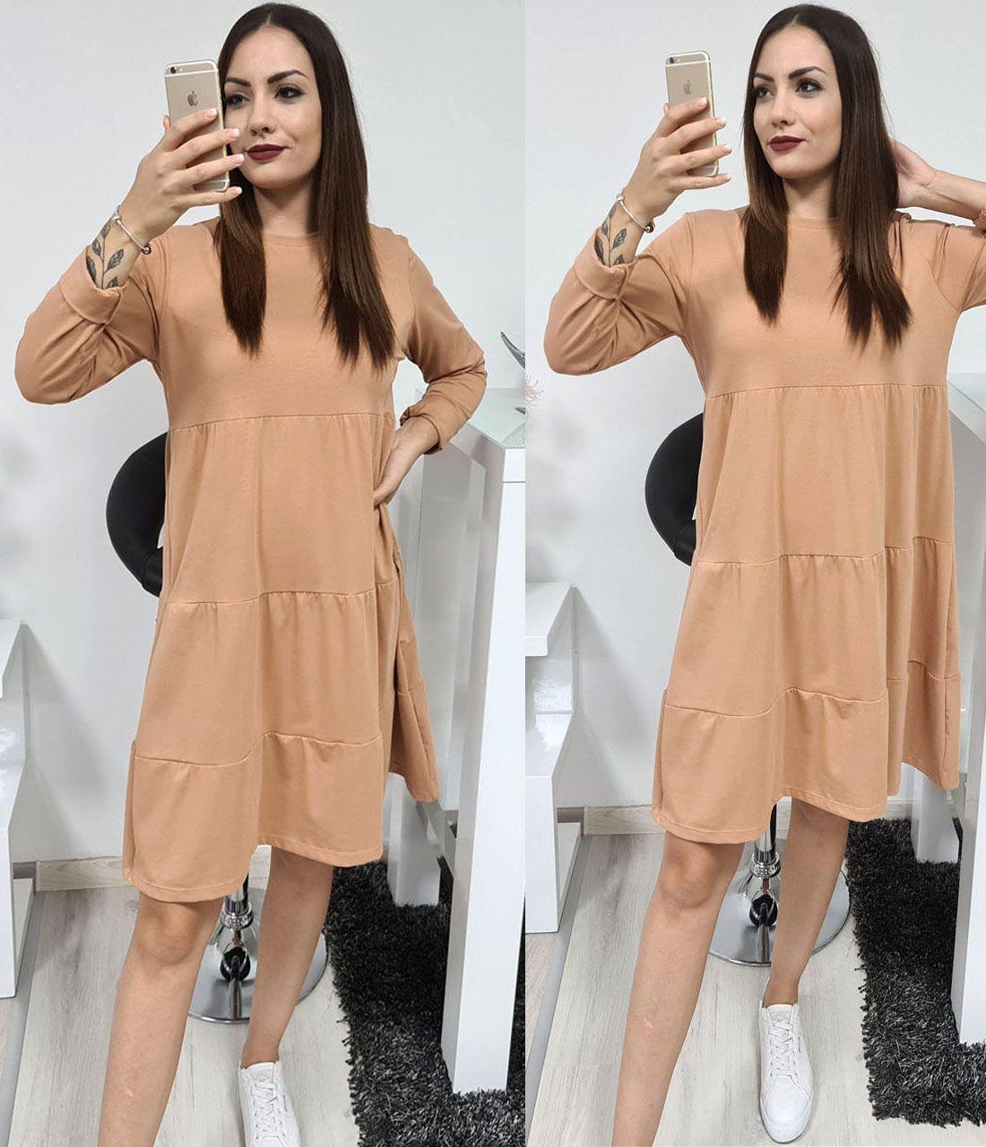 Egyszínű ruha (camel)
