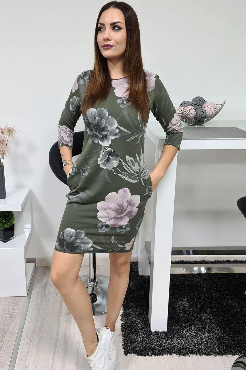Virág mintás zsebes ruha III. (kheki)